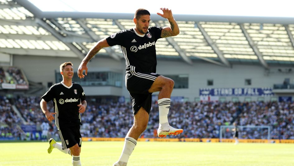 Aleksandar Mitrovic of Fulham celebrates after scoring
