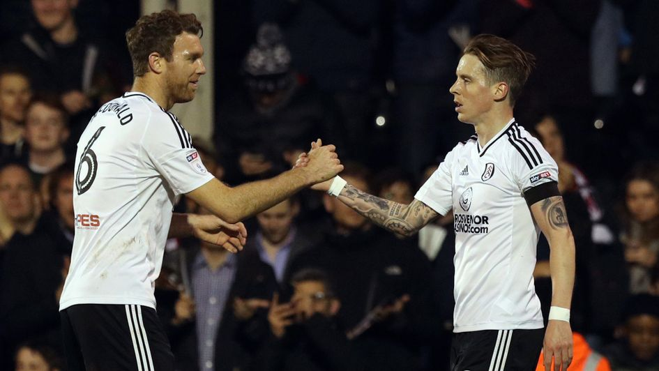 Fulham duo Kevin McDonald and Stefan Johansen celebrate