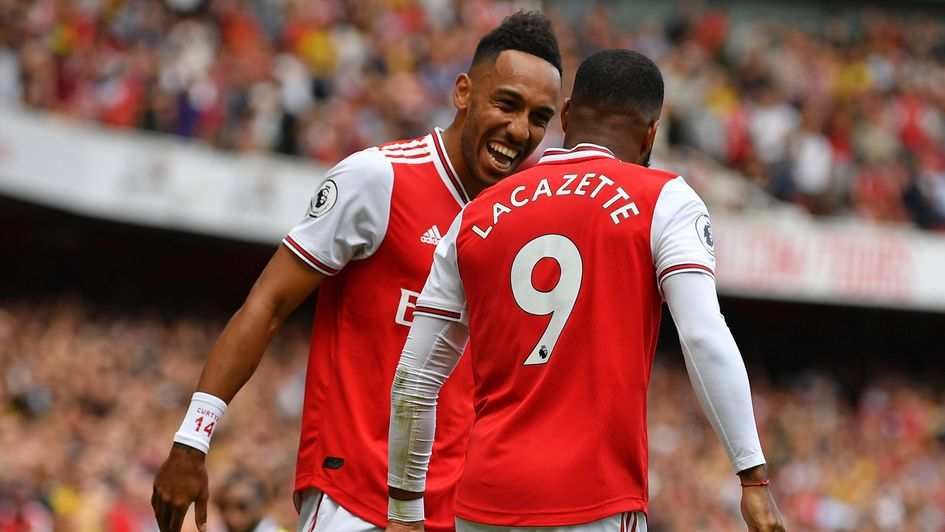 Pierre-Emerick Aubameyang and Alexandre Lacazette: Arsenal duo celebrate during the win over Burnley