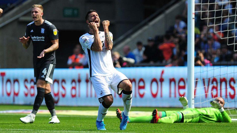 Borja Baston in action for Swansea against Birmingham