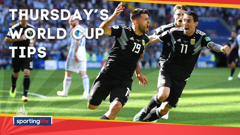 Argentina are backed for victory as part of our tips for Thursday's World Cup action