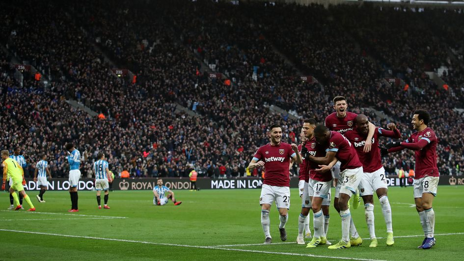 West Ham celebrate their comeback against Huddersfield