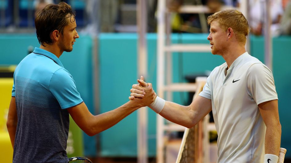 Britain's Kyle Edmund (right) beat Daniil Medvedev in the Madrid Open