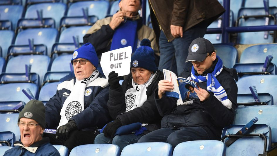 'PUEL OUT': A Leicester City fan lets their feelings known ahead of their clash with Southampton