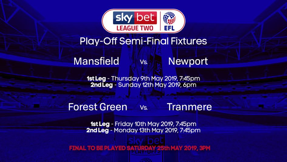 The fixtures for the Sky Bet League Two play-offs have been confirmed