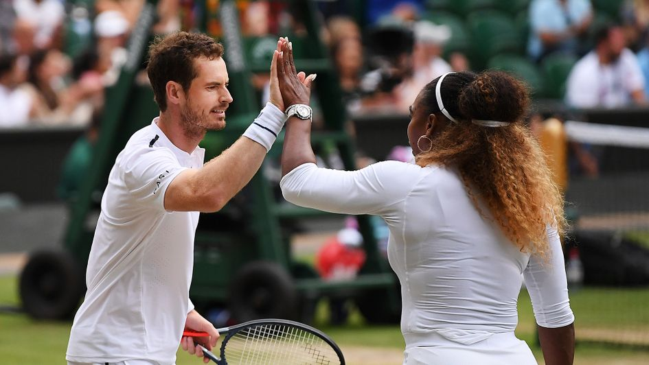 Andy Murray and Serena Williams in mixed doubles action