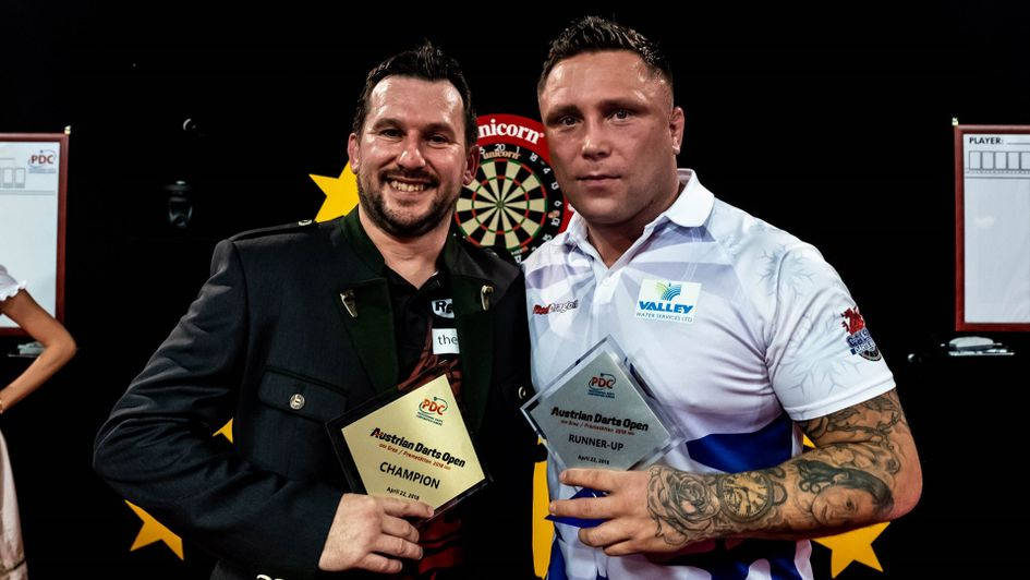 Austrian Darts Open winner Jonny Clayton and runner-up Gerwyn Price (Picture: Michael Braunschadel/PDC Europe)