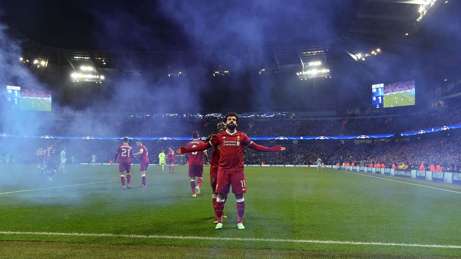 Mo Salah celebrates after scoring v Man City in the Champions League