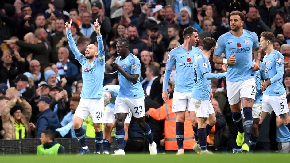 David Silva celebrates after leaving Manchester City management against Manchester United