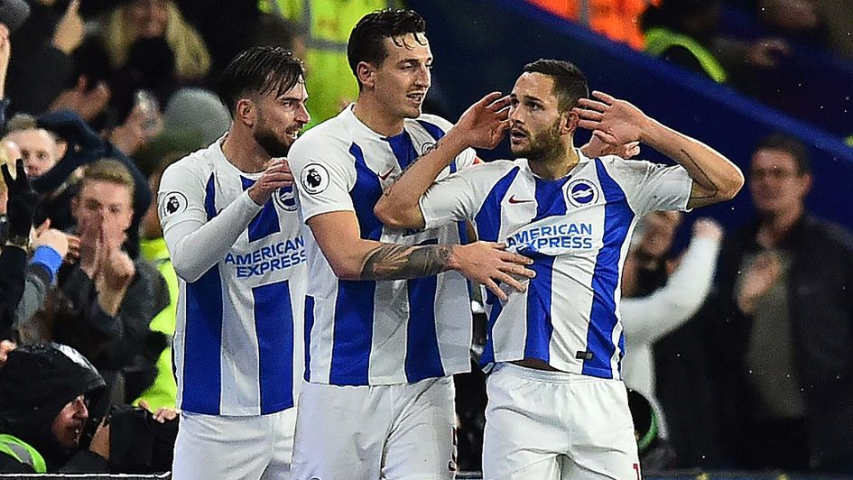 Florin Andone celebrates his goal for Brighton against Crystal Palace