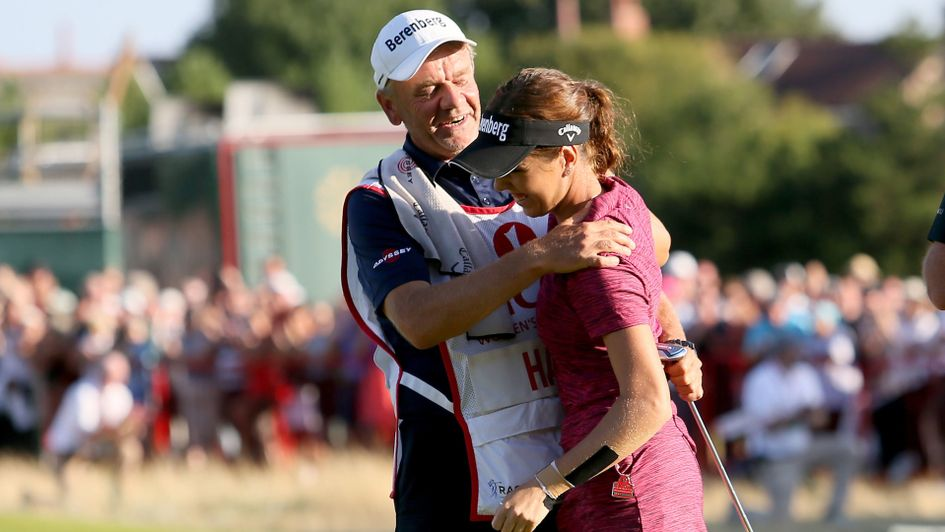 Georgia Hall and her father celebrate on the final green