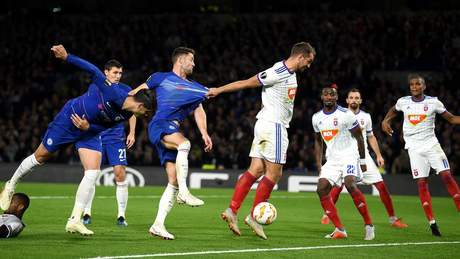 Gary Cahill looks to win the ball from a corner against MOL Vidi