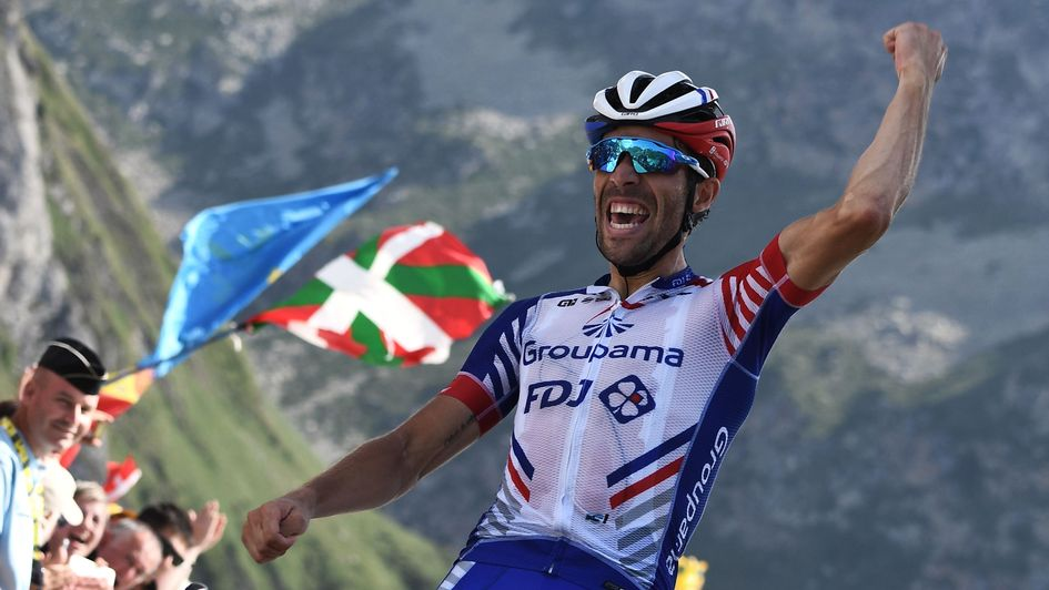 Thibaut Pinot: The cyclist celebrates his Stage 14 victory at the Tour de France