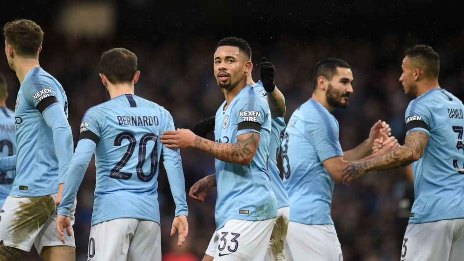 Manchester City celebrate Gabriel Jesus' (centre) goal against Burnley in the FA Cup