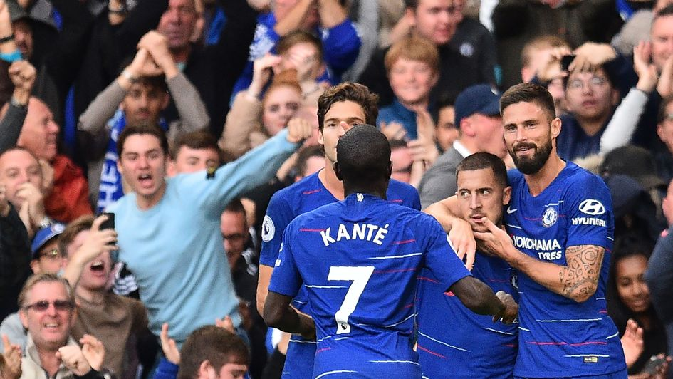 Chelsea players celebrate Eden Hazard's goal against Liverpool