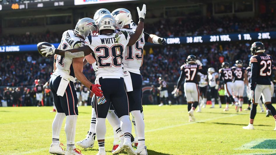 The New England Patriots celebrate a touchdown in the NFL