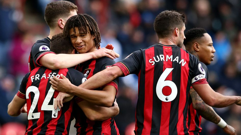 Celebrations for Bournemouth after Ryan Fraser's goal at Huddersfield