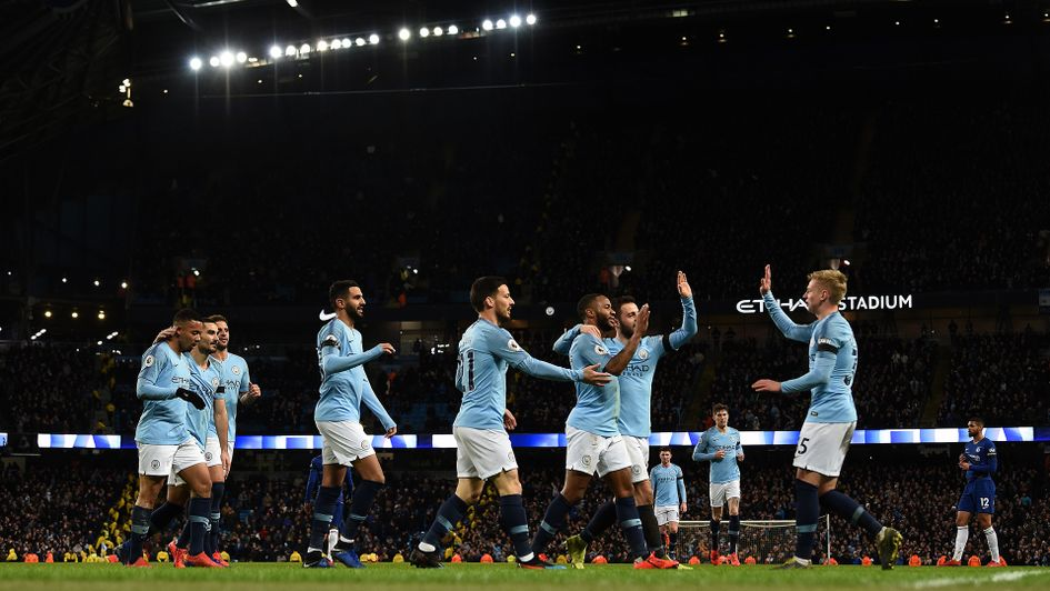 Celebrations for Manchester City in their 6-0 win over Chelsea