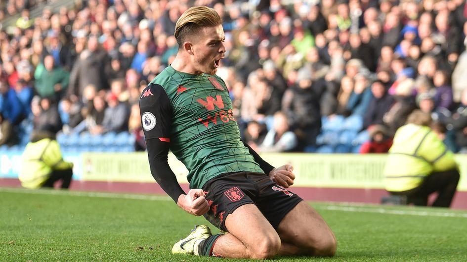 Jack Grealish celebrates his goal against Burnley