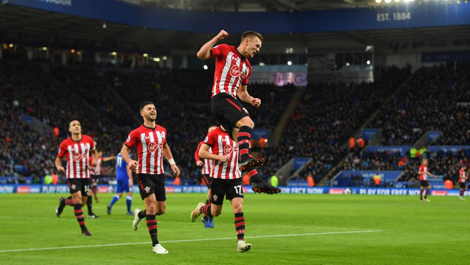 James Ward-Prowse celebrates his penalty for Southampton at Leicester