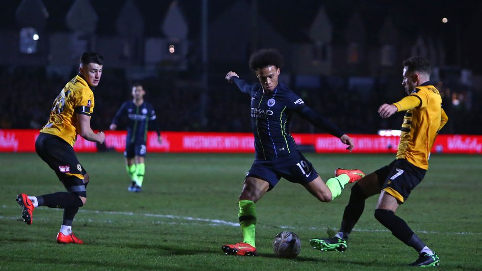 Leroy Sane tries his luck for Man City against Newport