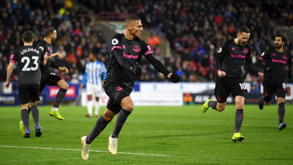 Richarlison celebrates after scoring against Huddersfield