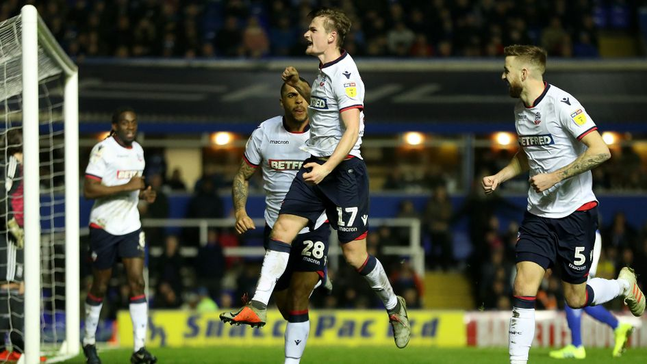 Callum Connolly celebrates his winner for Bolton Wanderers