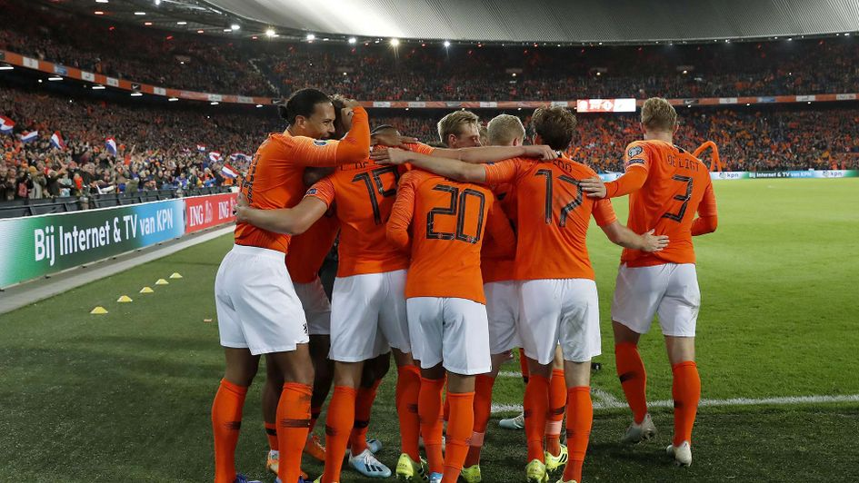The Netherlands celebrate their late win over Northern Ireland