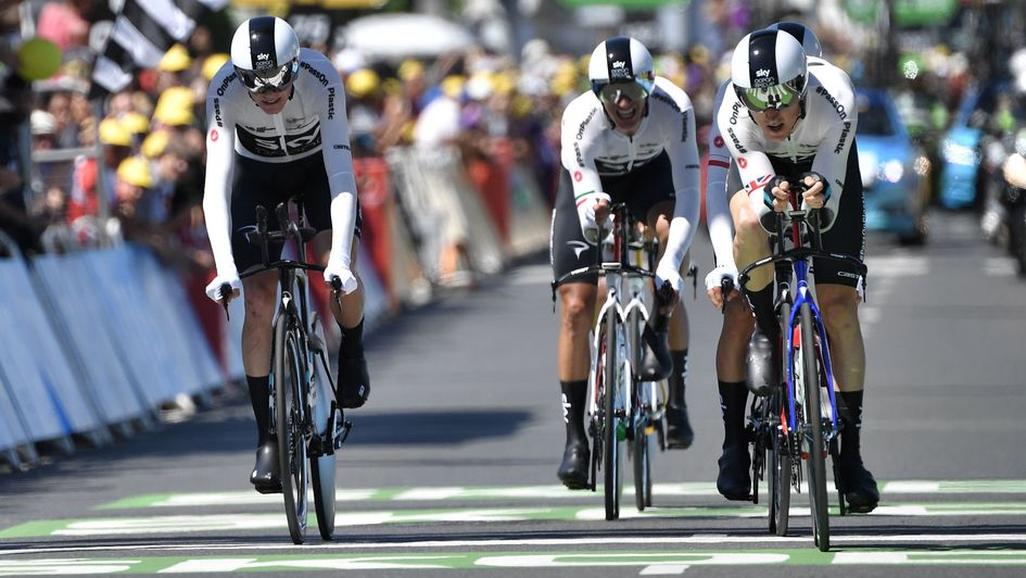 Team Sky cross the line on Monday