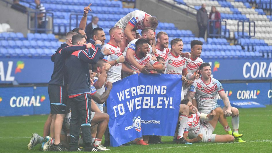 St Helens celebrate winning their Challenge Cup semi-final