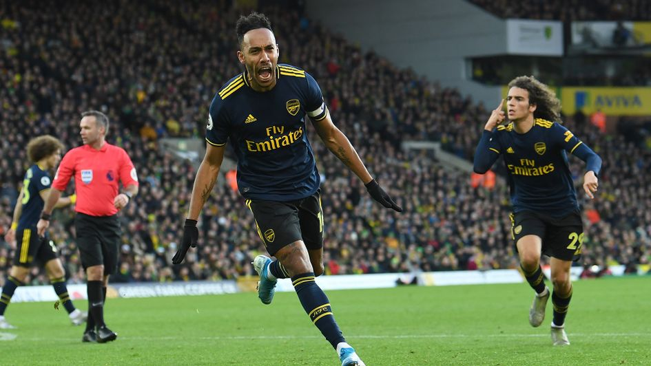Pierre-Emerick Aubameyang celebrates his second goal against Norwich