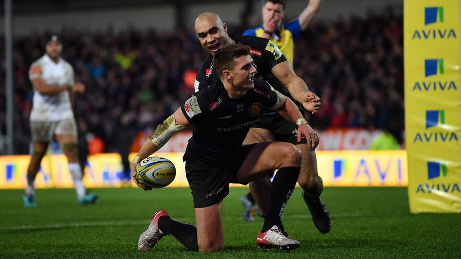 Henry Slade scores for Exeter