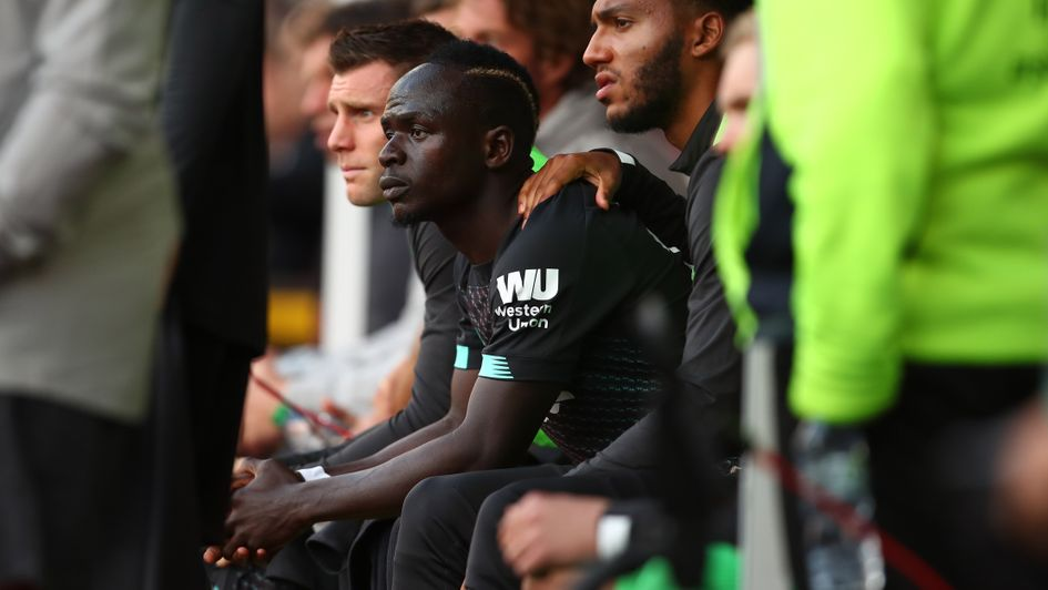 Sadio Mane: Liverpool forward reacts angrily on the bench at Burnley