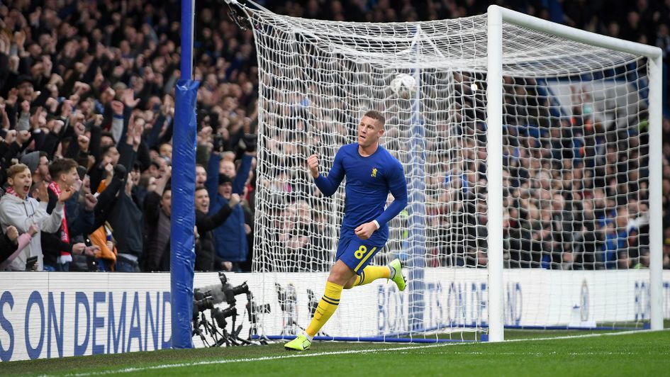 Ross Barkley celebrates his goal against Nottingham Forest