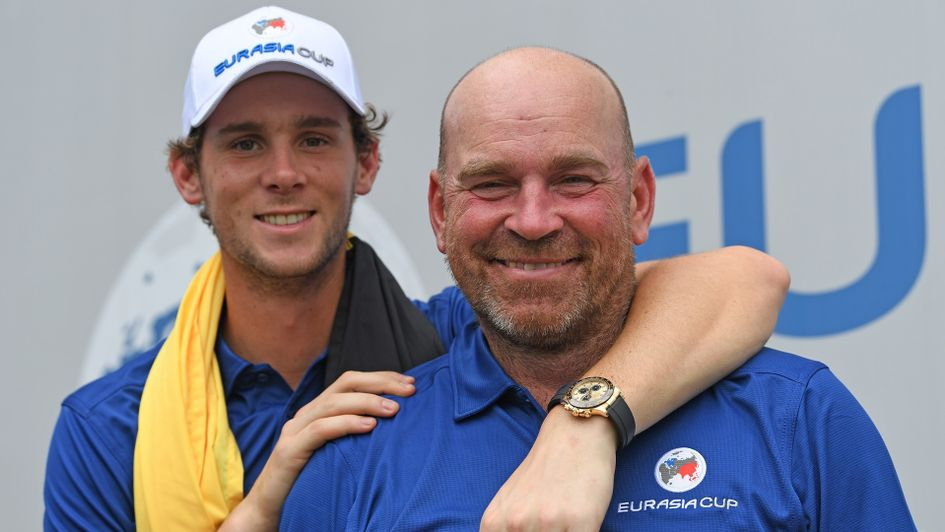 Thomas Pieters pictured with Thomas Bjorn earlier this year