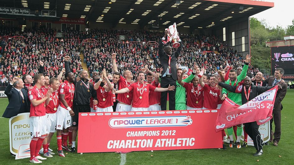 Chris Powell and Charlton celebrate winning League One in 2012