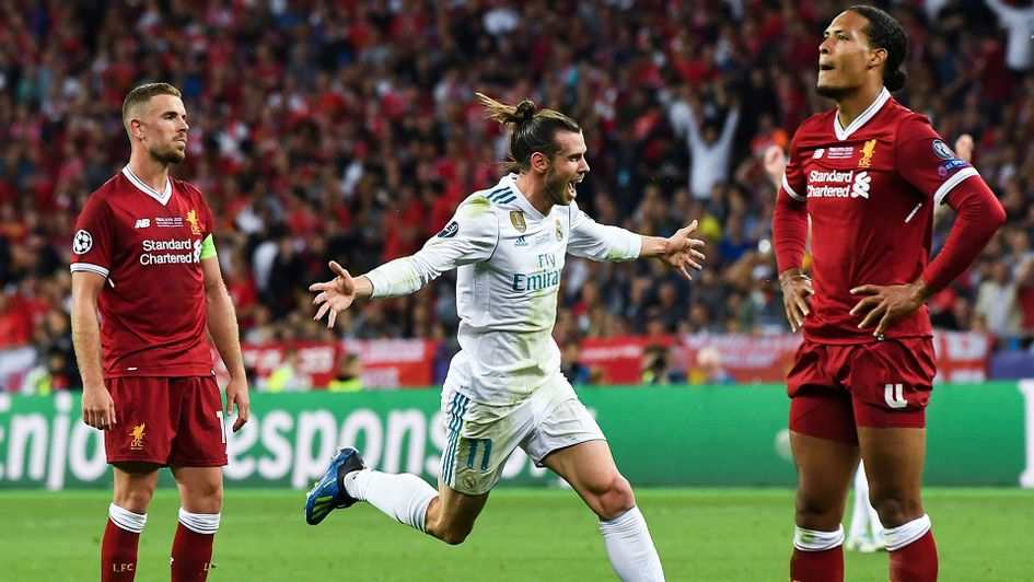 Gareth Bale celebrates his spectular goal against Liverpool in the 2018 Champions League Final