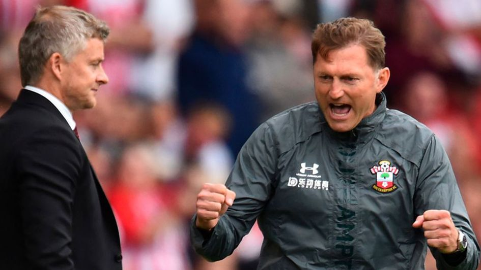Saints boss Ralph Hasenhuttl, right, celebrates a point again Ole Gunnar Solskjaer's Manchester United