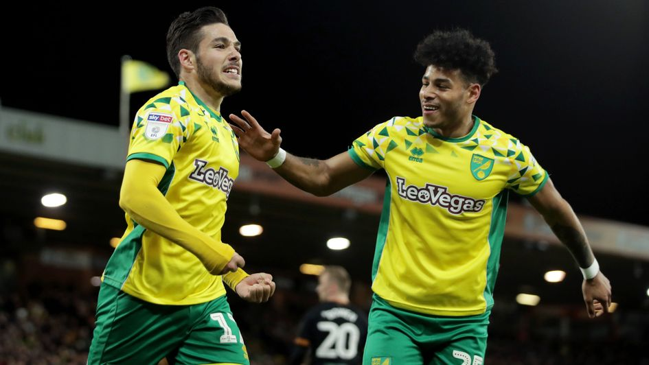 Emi Buendia: Norwich City midfielder (left) celebrates his goal against Hull at Carrow Road