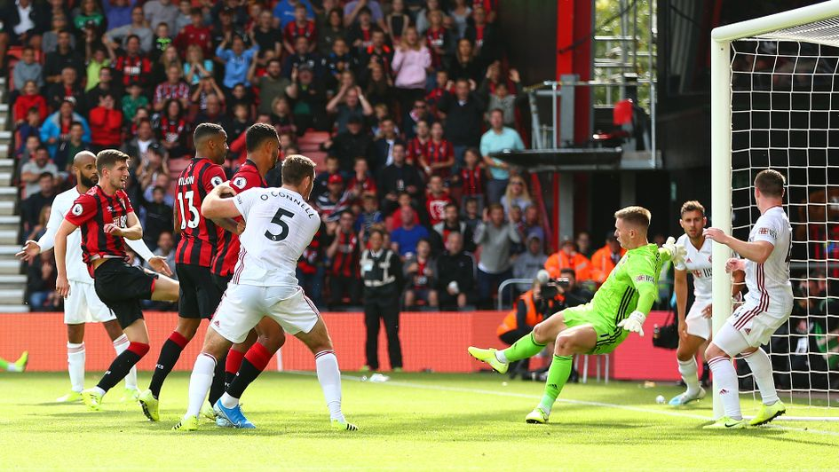 Chris Mepham fires Bournemouth into the lead against Sheffield United
