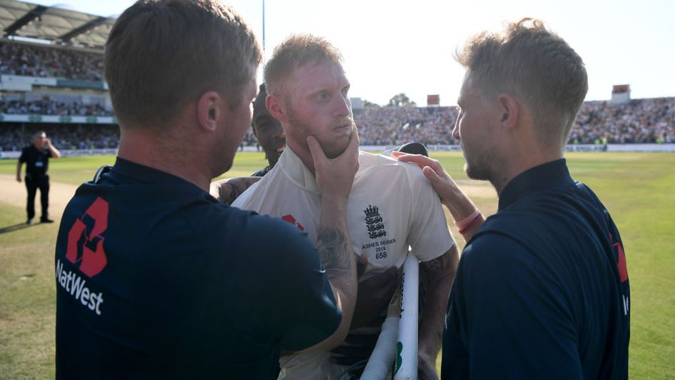 Ben Stokes receives the praise of his team-mates after his Headingley heroics