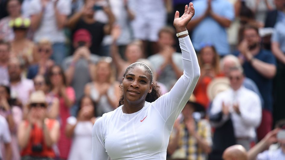 Serena Williams celebrates after beating Russia's Evgeniya Rodina 6-2, 6-2