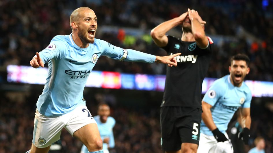 Man City's David Silva struck late to sink West Ham on Sunday