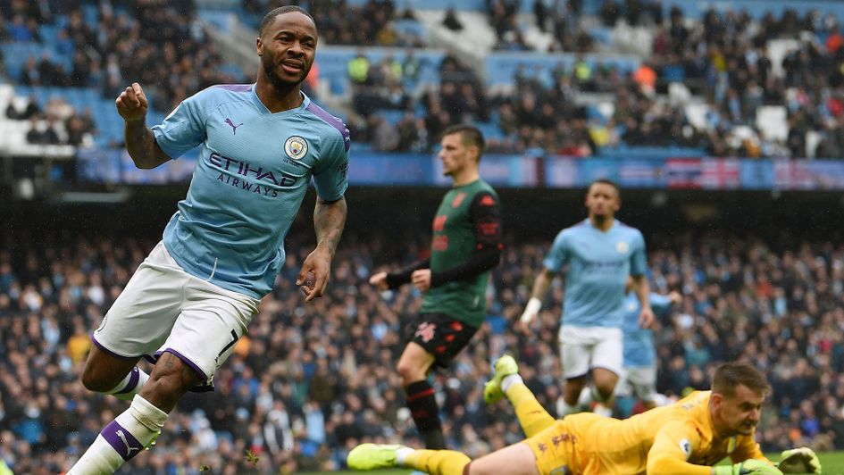 Raheem Sterling scored Manchester City's opening goal in their victory over Aston Villa