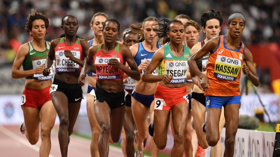 Sifan Hassan (orange with blue shorts) makes all in the women's 1500m final