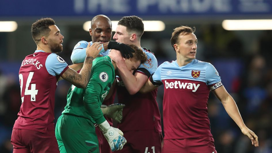 West Ham celebrate after victory over Chelsea