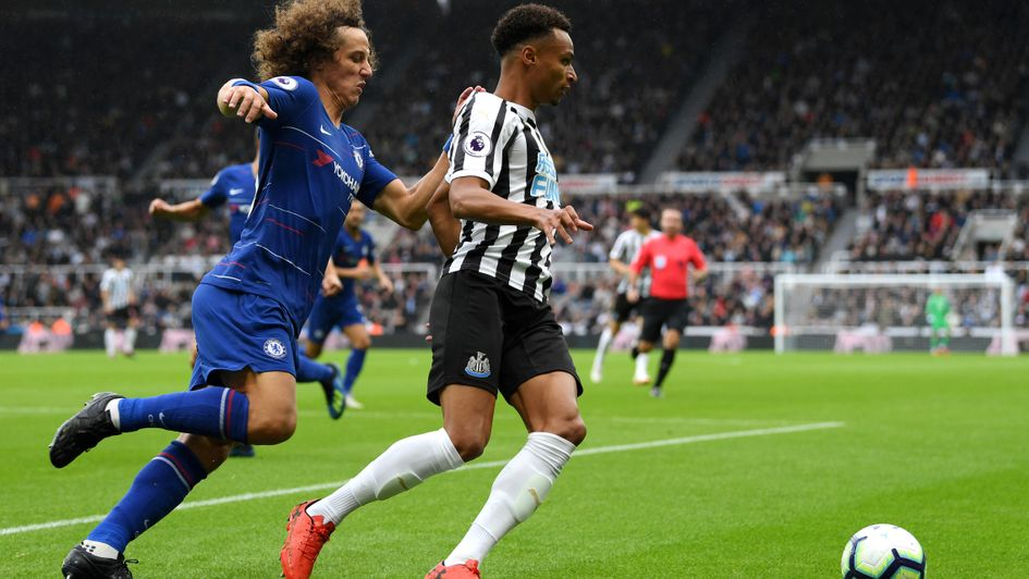 Newcastle's Jacob Murphy is closed down by Chelsea's David Luiz