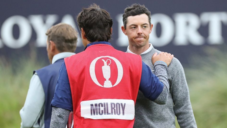 Rory McIlroy is consoled by his caddy Harry Diamond