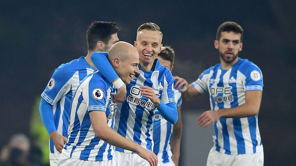 Aaron Mooy celebrates scoring for Huddersfield