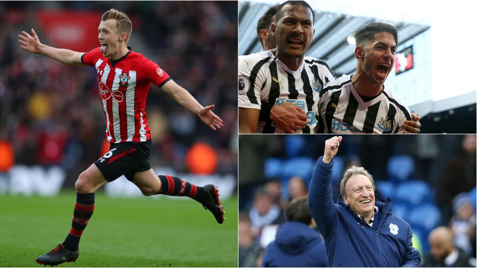 Clockwise from left: Delight for Southampton, Newcastle and Cardiff